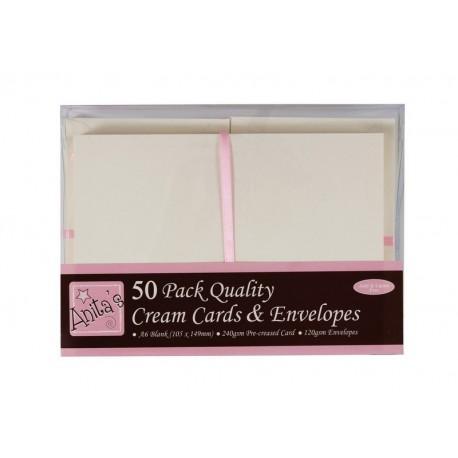 Blahopřání a obálky - 50ks - krémové
