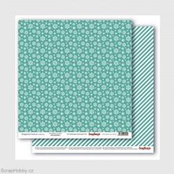 Oboustranný papír - Elegantly Festive -Snowflakes True Teal
