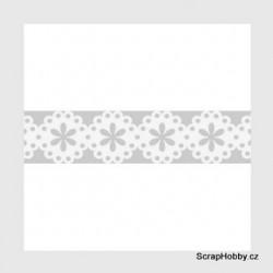Samolepící krajka - bílá - kytičky