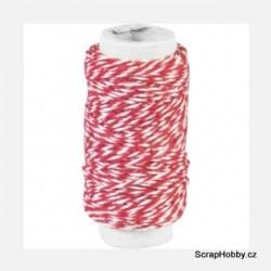 Dvoubarevný stáčený provázek - Červeno - bílý