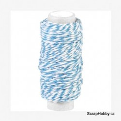 Dvoubarevný stáčený provázek - Modro - bílý