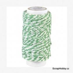 Dvoubarevný stáčený provázek - Zeleno - bílý