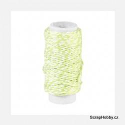Dvoubarevný stáčený provázek - světle Zeleno - bílý