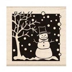 Scrapbooking - Razítko dřevěné - Sněhulák u stromu